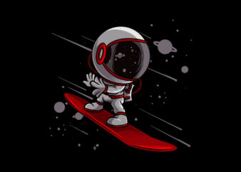 Astronaut snowboarding