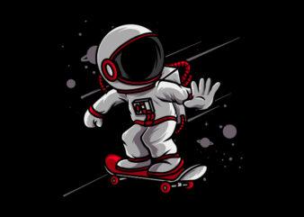 Astronaut skateboarding