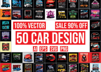 50 Car Design bundle 100% vector ai, eps, svg, png,