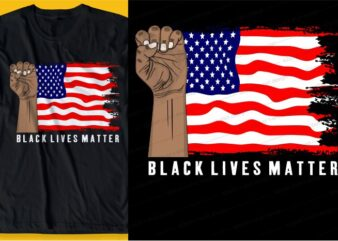 black lives matter i can't breathe, with flag america t shirt design graphic, vector, illustration inspiration motivational lettering typography