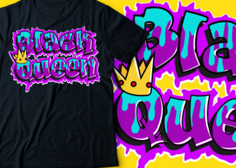 black queen with crown typography | African American t-shirt design