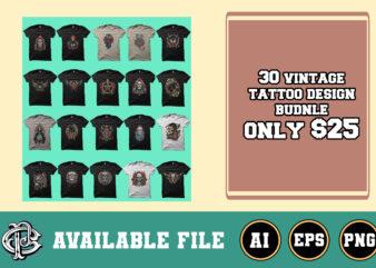 30 vintage tattoo design bundle only $25