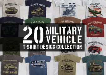 20 Military vehicle t-shirt collection