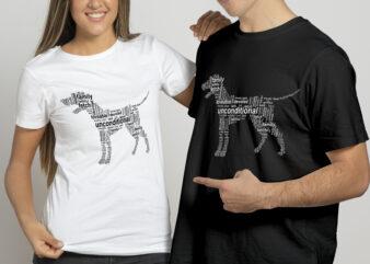 Dog Shape word cloud | Dog lover t shirt design for sale