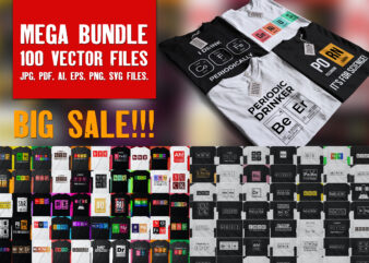Pack of 100 Periodic Table Tees | 50 colored and 50 black an d white | Big bundle with top rated designs