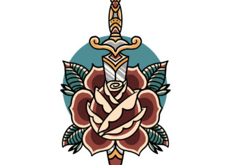 rose dagger t-shirt design