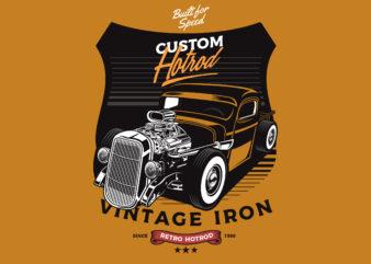 Yellow Hotrod t shirt design