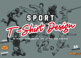 55 Various Sport T-shirt Design Bundles!