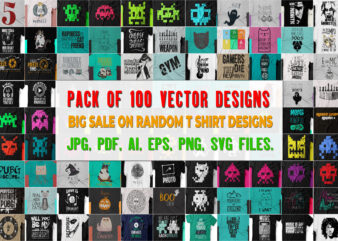 Pack of 100 Vector T shirt Designs (Volume 2) Worth more than 500