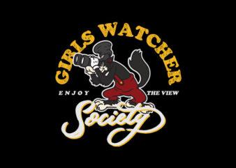 girls watcher society t shirt design template
