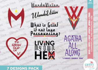 WandaVision, To Grow old In, Agatha all Along, The Hex, SVG, PNG, Eps, Pdf, for Cricut , Silhouette, Transfer or Sublimation