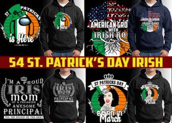 54 ST Patrick's day irish tshirt designs bundles editable
