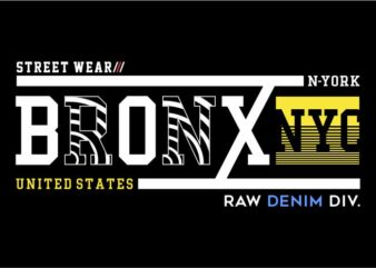 urban city bronx new york t shirt design graphic, vector, illustration lettering typography