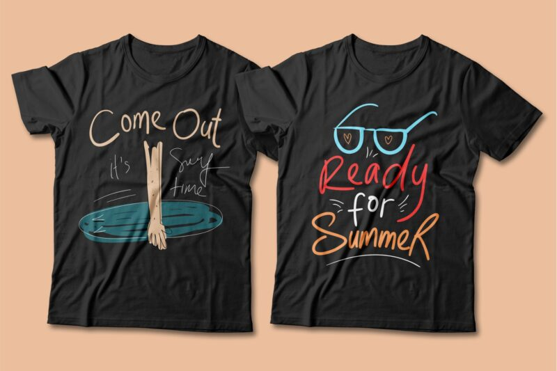 Summer beach graphic t shirt design bundle. Funny and creative summer quotes for t-shirt design. Summer t shirt. Beach t shirt. t shirt design bundle pack collection. summer vector t shirt design