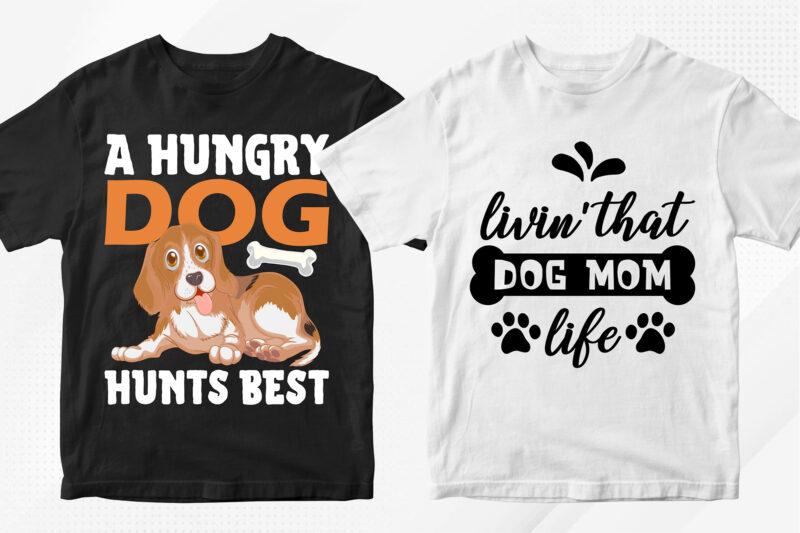 Dog T-shirt Designs Bundle – 50 Editable Dog Vector T shirt Designs Bundle