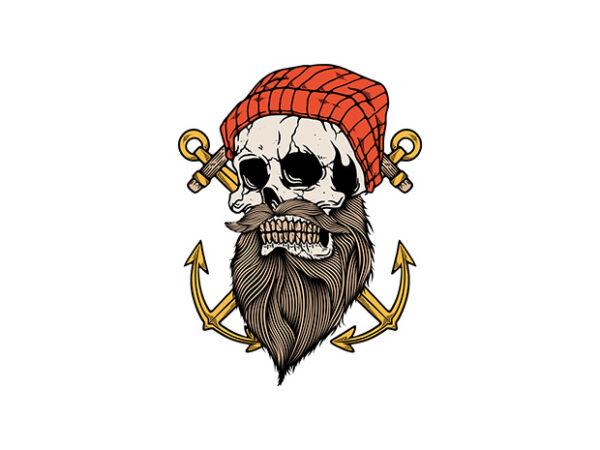 Skull Anchor t shirt template vector