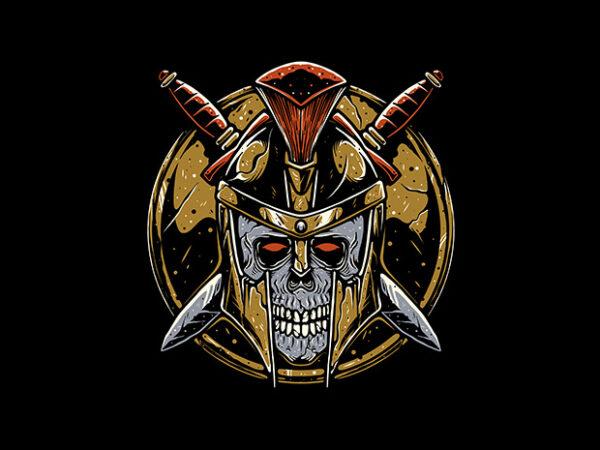 Skull Sparta t shirt template vector