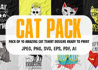 pack of 10 awesome cat t shirt design for sale.