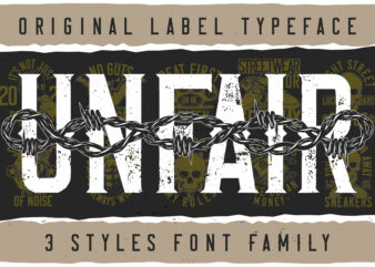 Unfair Font and T-shirts bundle