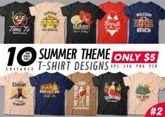 Summer Season t-shirt design bundle, Beach t shirt design collection, Surf and paradise t shirt design vector pack #2, Summer t shirt design mini bundle