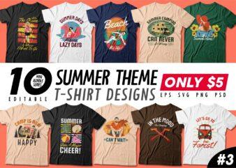 Summer theme t-shirt design bundle, beach t shirt design collection, surf and paradise t shirt design vector pack #3, summer t shirt design mini bundle