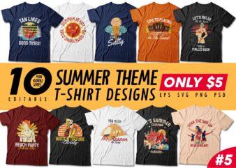Summer Season t-shirt design bundle, Beach t shirt design collection, Camping and paradise t shirt design vector pack #5, Summer t shirt design mini bundle