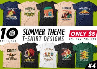 Summer season t-shirt design bundle, beach t shirt design collection, surf and paradise t shirt design vector pack #4, summer t shirt design mini bundle