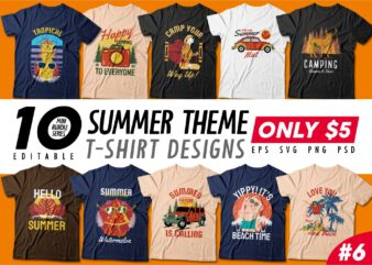 Summer theme t-shirt design bundle, Camping t shirt design collection, Beach and paradise t shirt design vector pack #6, Summer t shirt design mini bundle