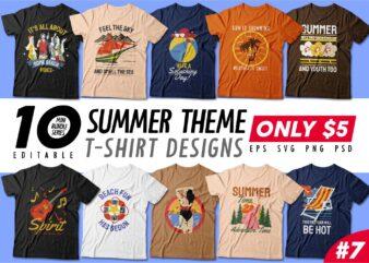 Summer season t-shirt design bundle, Beach t shirt design collection, Camping and paradise t shirt design vector pack #7, Summer theme t shirt design mini bundle