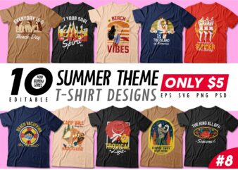 Summer theme t-shirt design bundle, Beach t shirt design collection, Camping and paradise t shirt design vector pack #8, Summer t shirt design mini bundle
