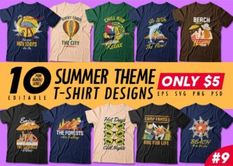 Summer theme t-shirt design bundle, Camping t shirt design collection, Beach and paradise t shirt design vector pack #9, Summer t shirt design mini bundle
