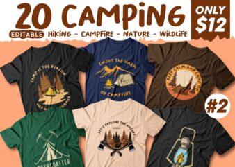 Camping t shirt designs bundle, Adventure t shirt design, Campfire t shirt design, Hiking t shirt design, t shirt designs for POD, Wildlife t shirt, Vector t shirt design, t shirt design for camping, summer t shirt design