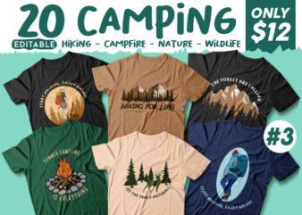 20 Camping T-shirt Designs Editable, Nature Lovers T shirt Design, Vector