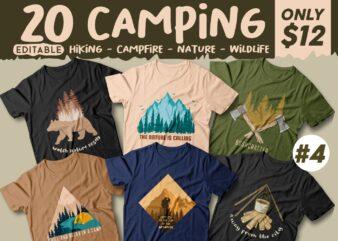 Camping t shirt designs bundle, Camping slogan t shirt design, Adventure t shirt design, Campfire t shirt design, Hiking t shirt design, Wildlife t shirt, Vector t shirt design, t shirt design for camping, summer theme