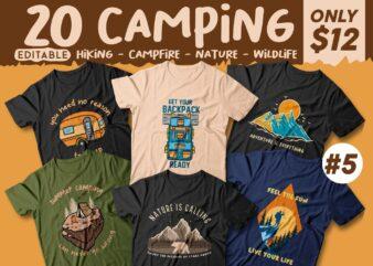 20 Camping T-shirt Designs Editable, Nature Lovers T shirt Design