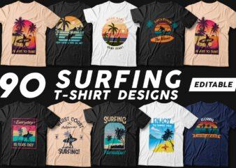 90 Surfing t shirt designs bundle, Editable t shirt design pack, Beach t shirt, Surf paradise t shirt,