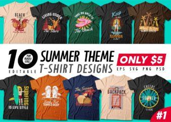 Summer theme t-shirt design bundle, Beach t shirt design collection, Surf and paradise t shirt design vector pack #1, Summer t shirt design mini bundle