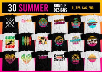 30 Summer Surfing T-Shirt Design Bundle