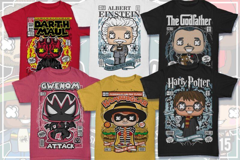 25 Kid Cartoon Tshirt Designs Bundle #17