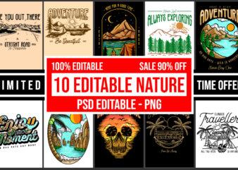 10 Editable Nature Streetwear Bundle PSD editable – PNG Transparent