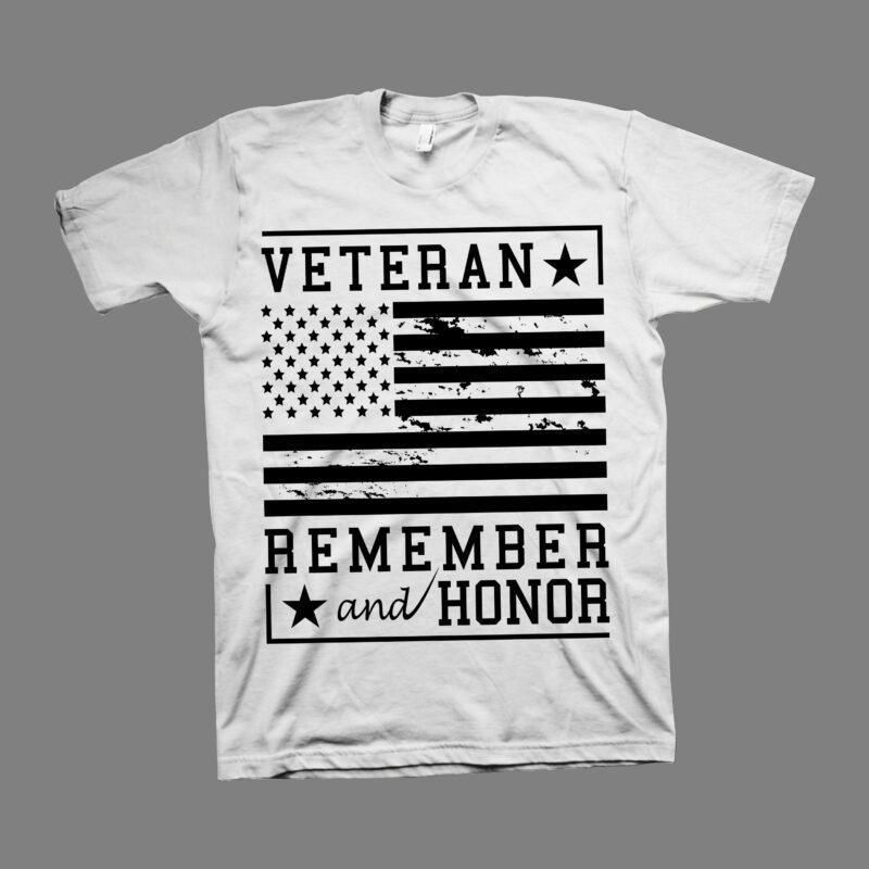 "Veteran ""Remember and Honor"" vector design illustration – Proud Veteran t shirt design – Veteran svg – Veteran png – 4th july t shirt design – Veteran t shirt design for sale"