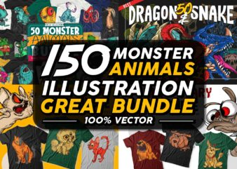 150 Monster animals cartoon t shirt designs great bundle. Vector t shirt designs