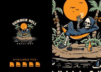 Summer Hell vector t-shirt design