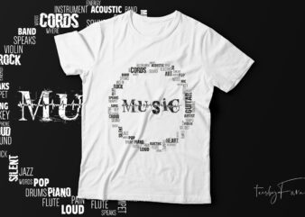 Music in words t-shirt design ready for print.