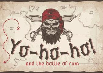 Yo-ho-ho. Vintage label font