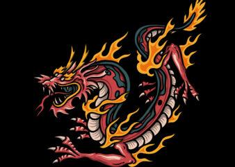 Dragon mascot illustration for t-shirt design