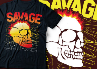 savage skull typography design | skull on fire
