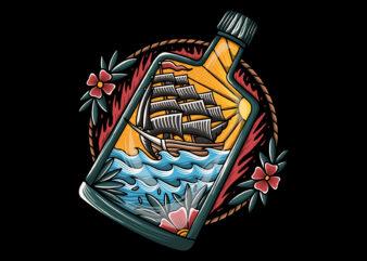 Ship and bottle vector tshirt design
