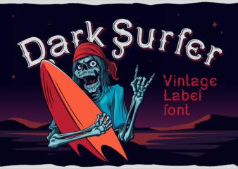 Dark surfer – vintage label font