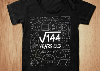 Square Root of 144 12th Birthday t-shirt design, Root 144 shirt, 12 Birthday shirt, 12th Birthday t-shirt, 144 days birthday tshirt, Funny 144 tshirt, 12th Birthday